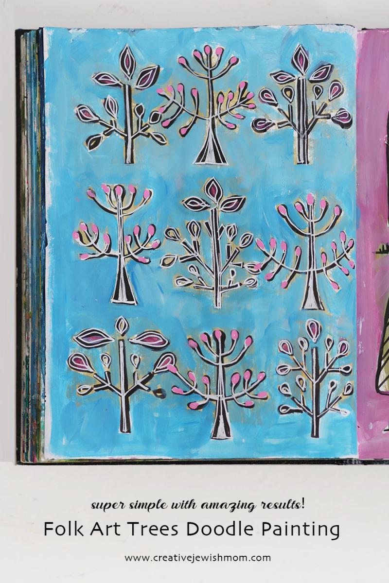 Folk-art-trees-in-bloom-doodle-painting
