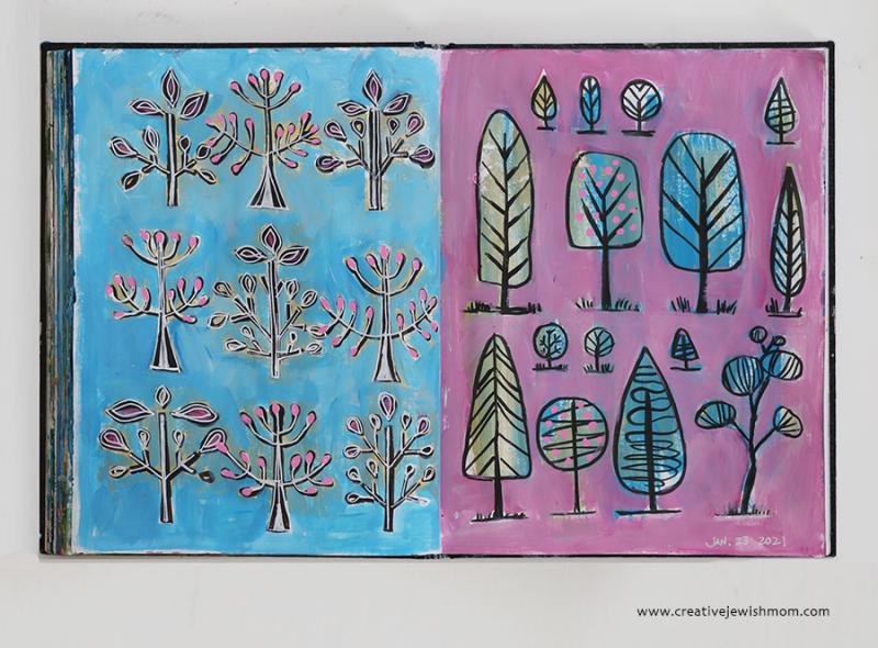 Doodle-trees-painting-sketchbook