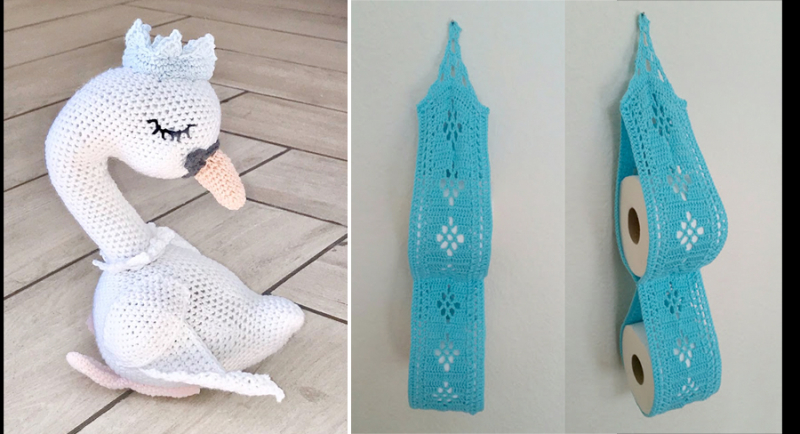 Crocheted-swan-doll