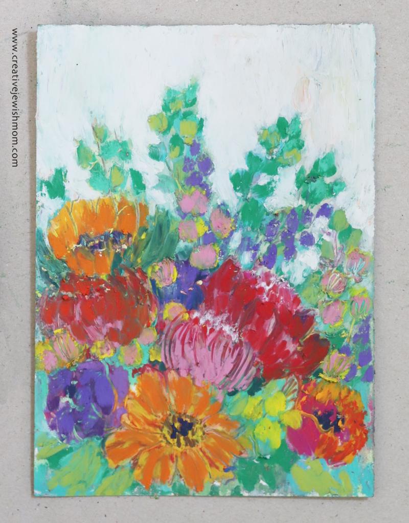 Oil-pastel-flower-bouquet