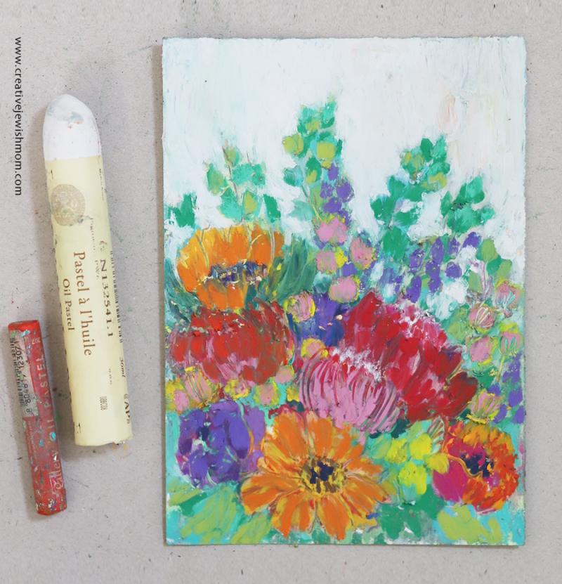 Giant-sennelier-oil-pastel-floral