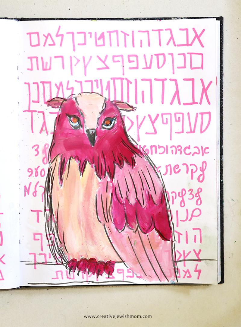 Simple-owl-painting-sketchbook