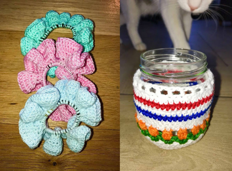 Crocheted-mosaic-scarf-chunky