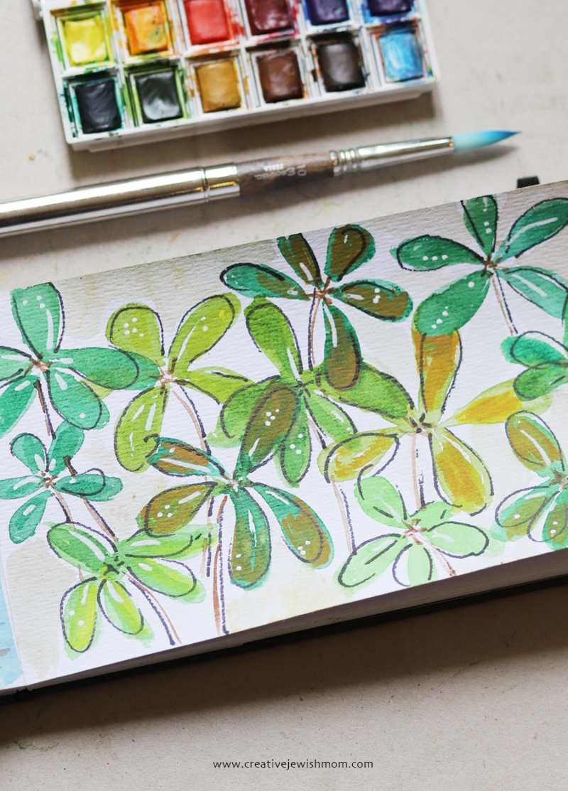 Watercolor-leaves-mixed-media