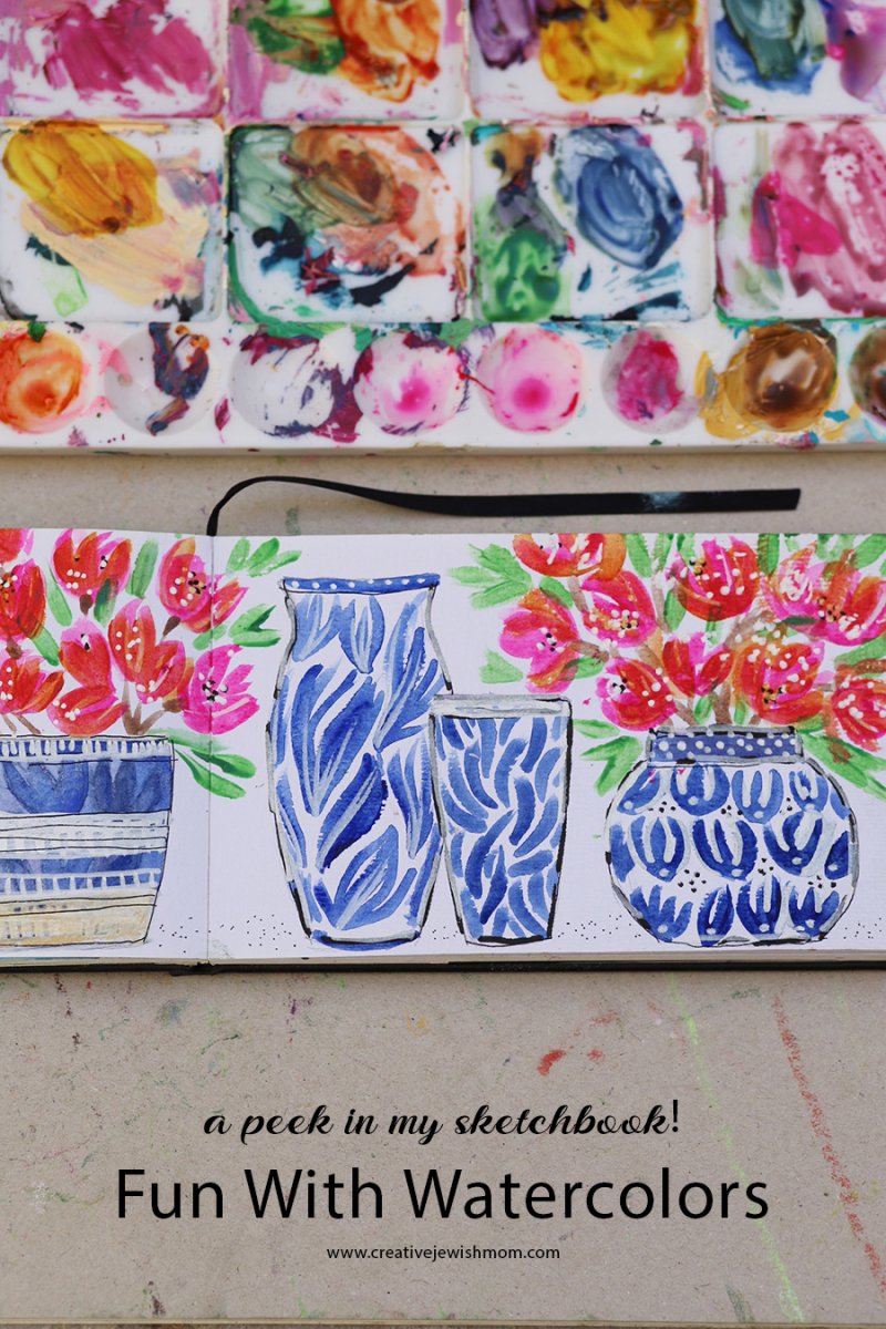 Watercolor-vases-with-flowers