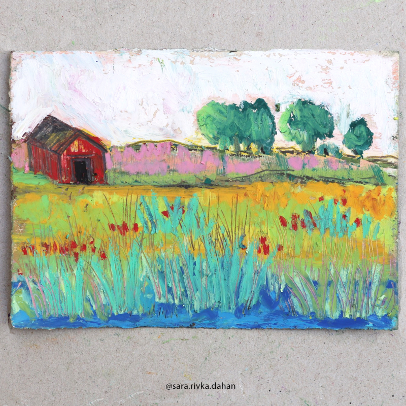 Oil-pastel-red-shed