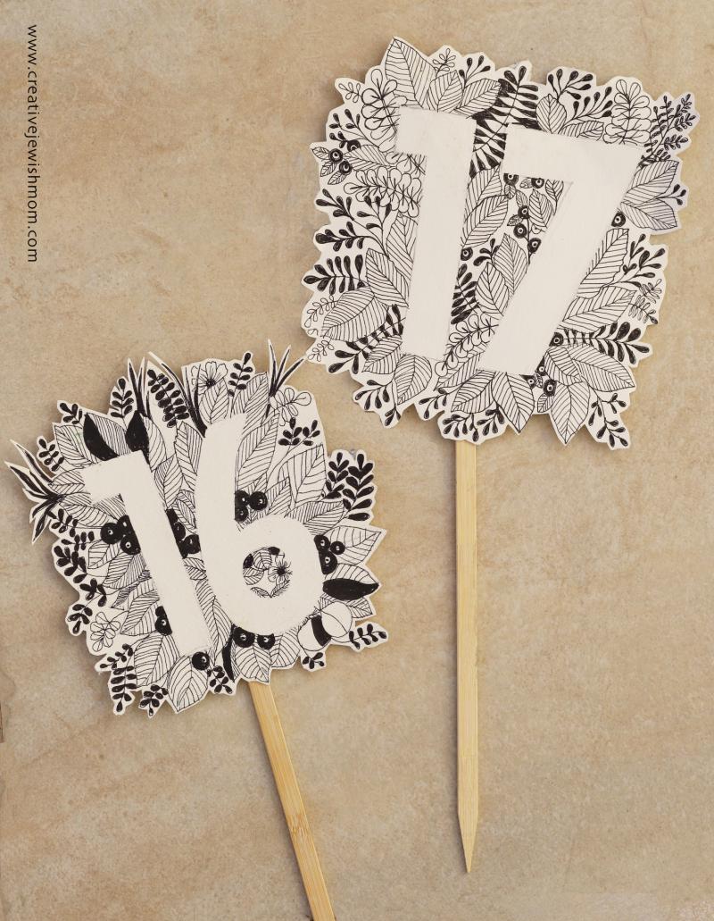 Botanical-doodle-number-cake-topper
