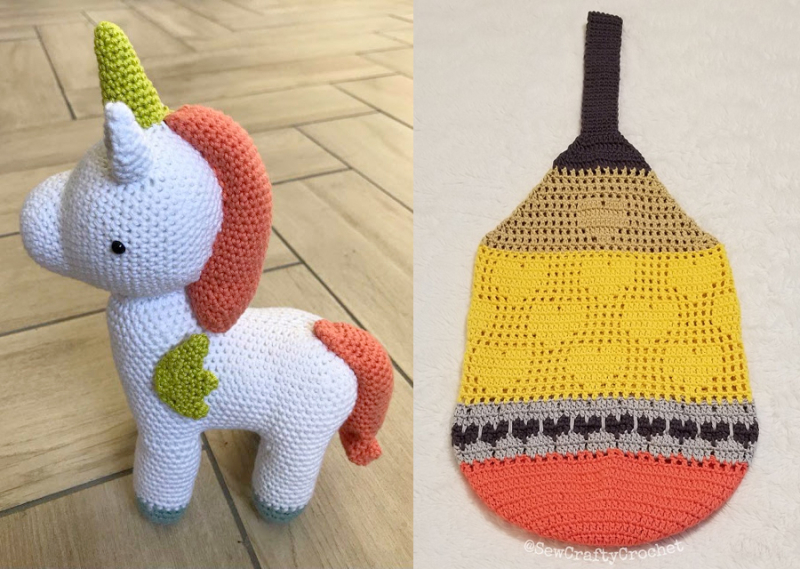 Crocheted-unicorn-stuffie