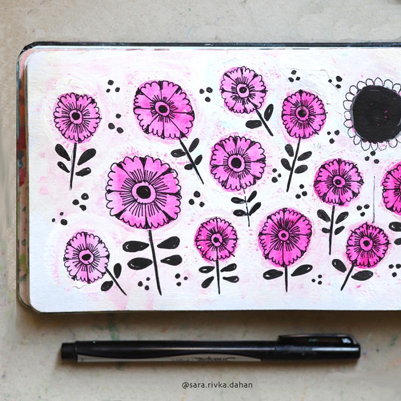 Doodle-flowers-yellow-sketchbook