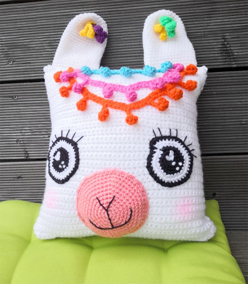 Crocheted-llama-pillow
