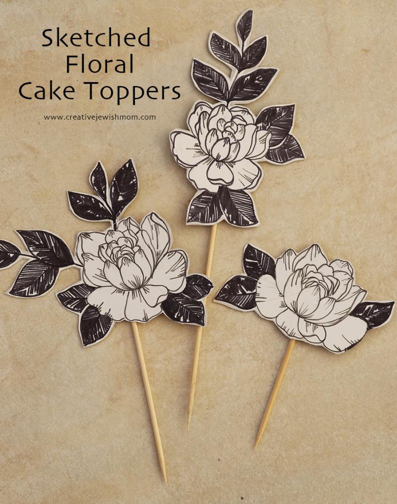 Sketched-flower-cake-topper